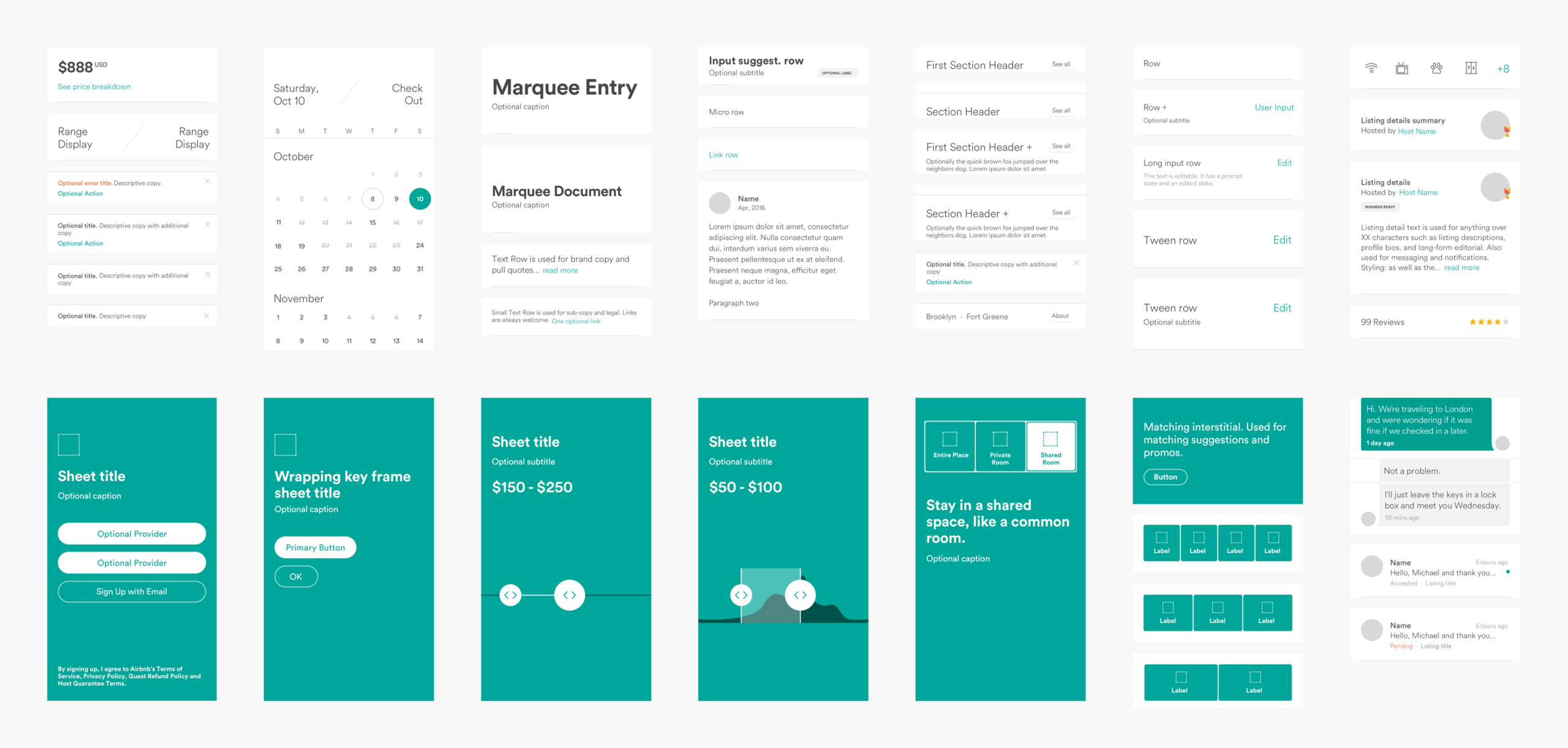 Airbnb's Design Language System Component Page