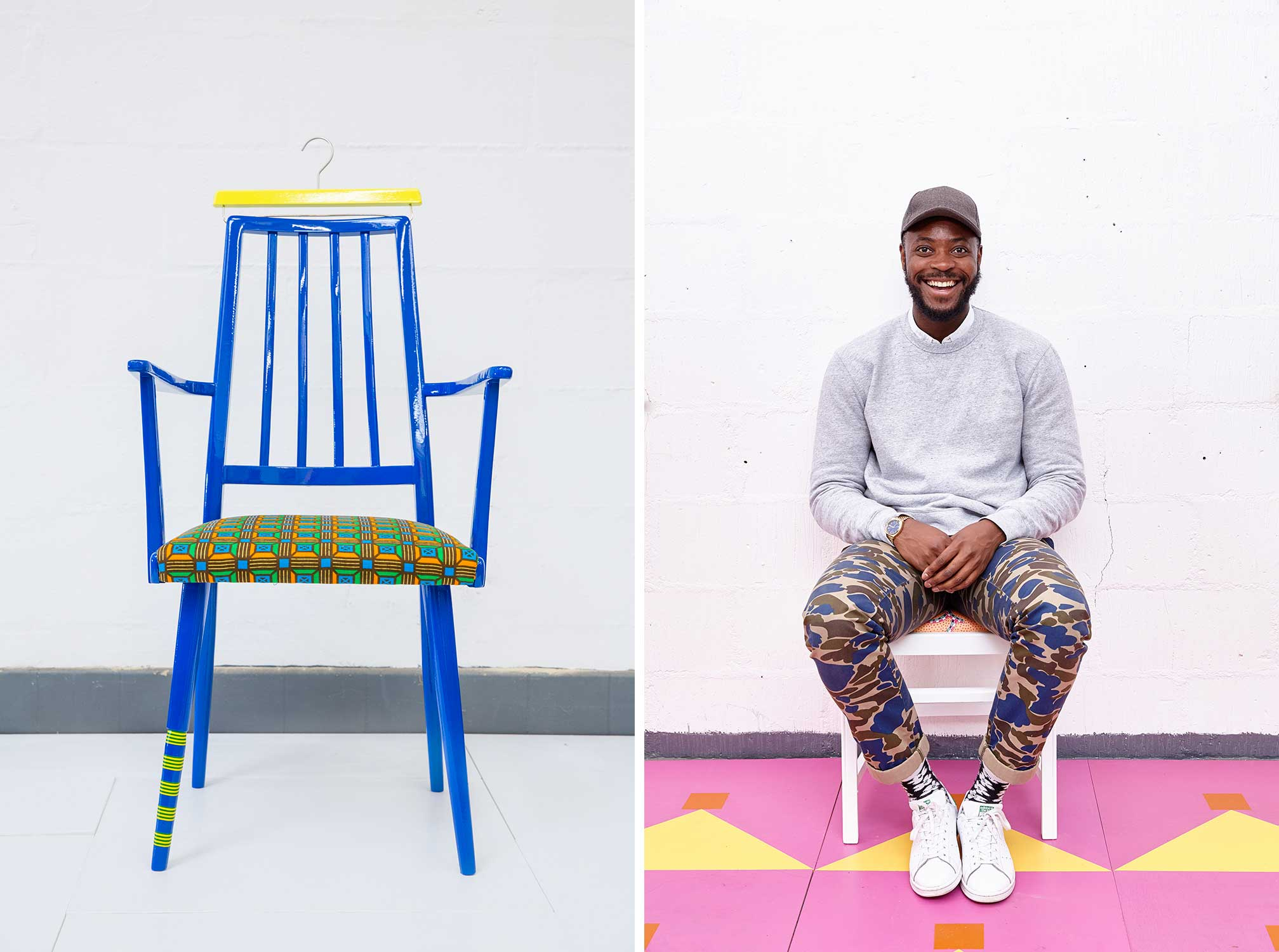 On the left, a bright blue chair against a white wall. On the right, Yinka Ilori sitting in a chair.