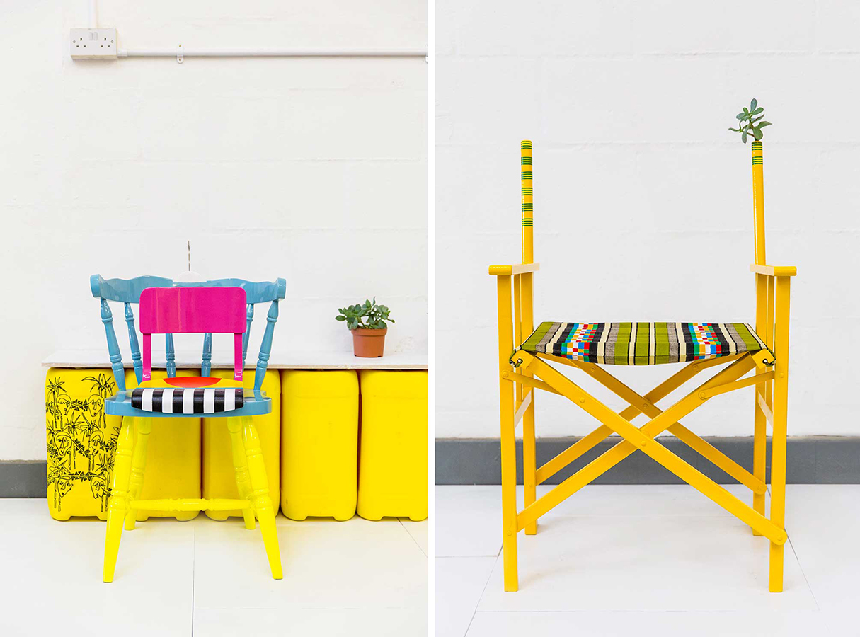 On the left, a bright yellow, pink, and blue chair. On the right, a yellow folding chair.