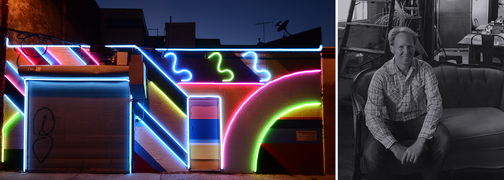 On the left, a neon art sculpture. On the right, David Guinn.