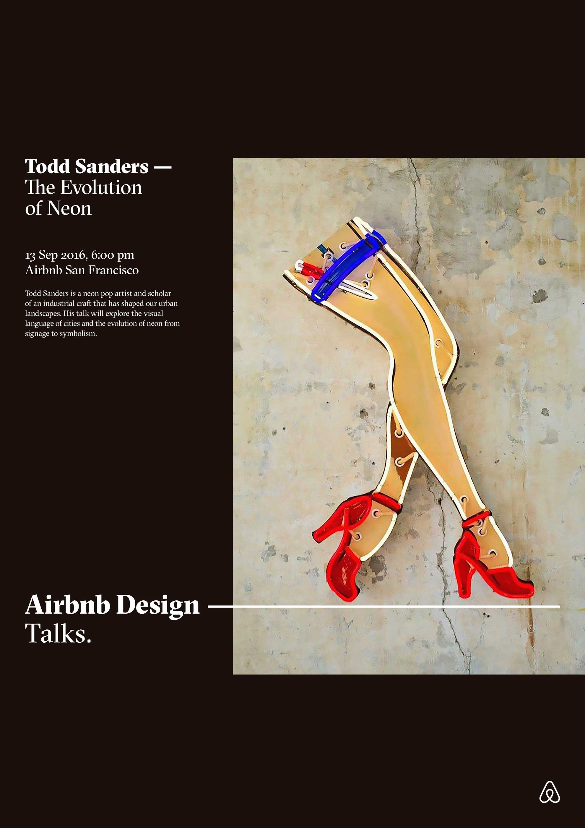A design poster for the Todd Sanders Airbnb Design talk. The title reads, the evolution of neon.