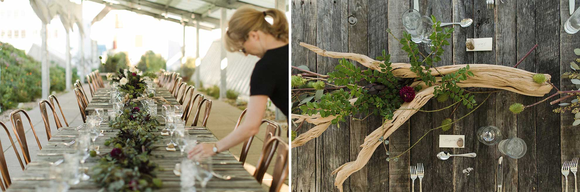 On the left, an elegant table set for dinner. On the right, a driftwood centerpiece alongside a place setting.