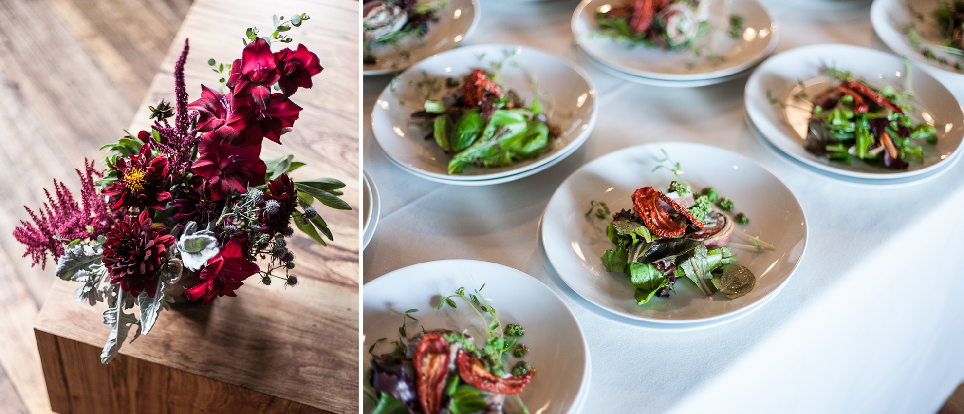 On the left, a bouquet of flowers. On the right, plates lined up with salads on top.