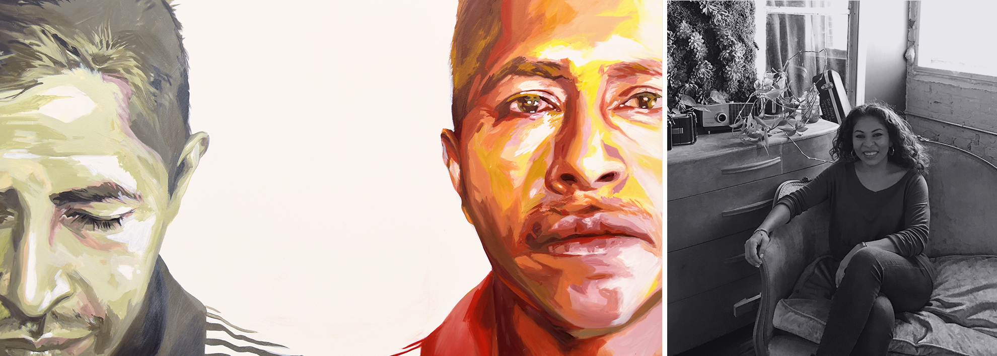 On the left, a painting of two male faces. On the right, Michelle Angela Ortiz.