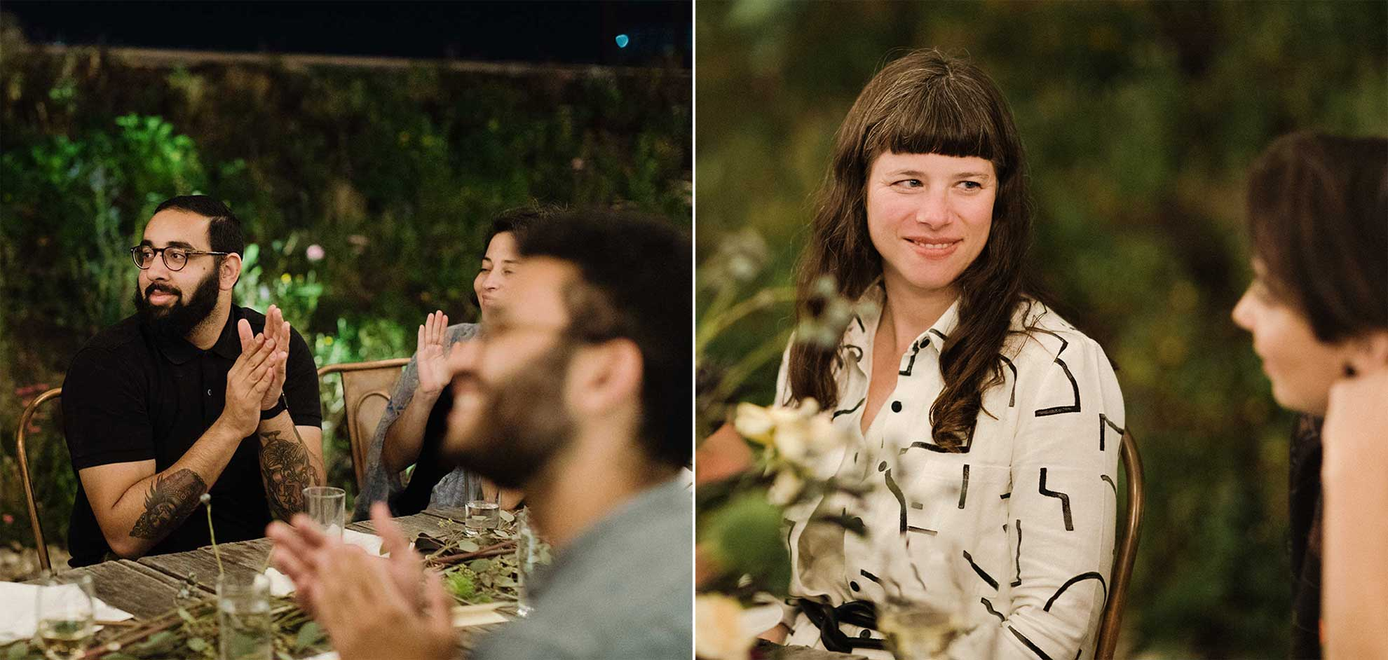 On the right, people seated at dinner, clapping for an unseen speaker. On the right, two women having an intimate conversation.