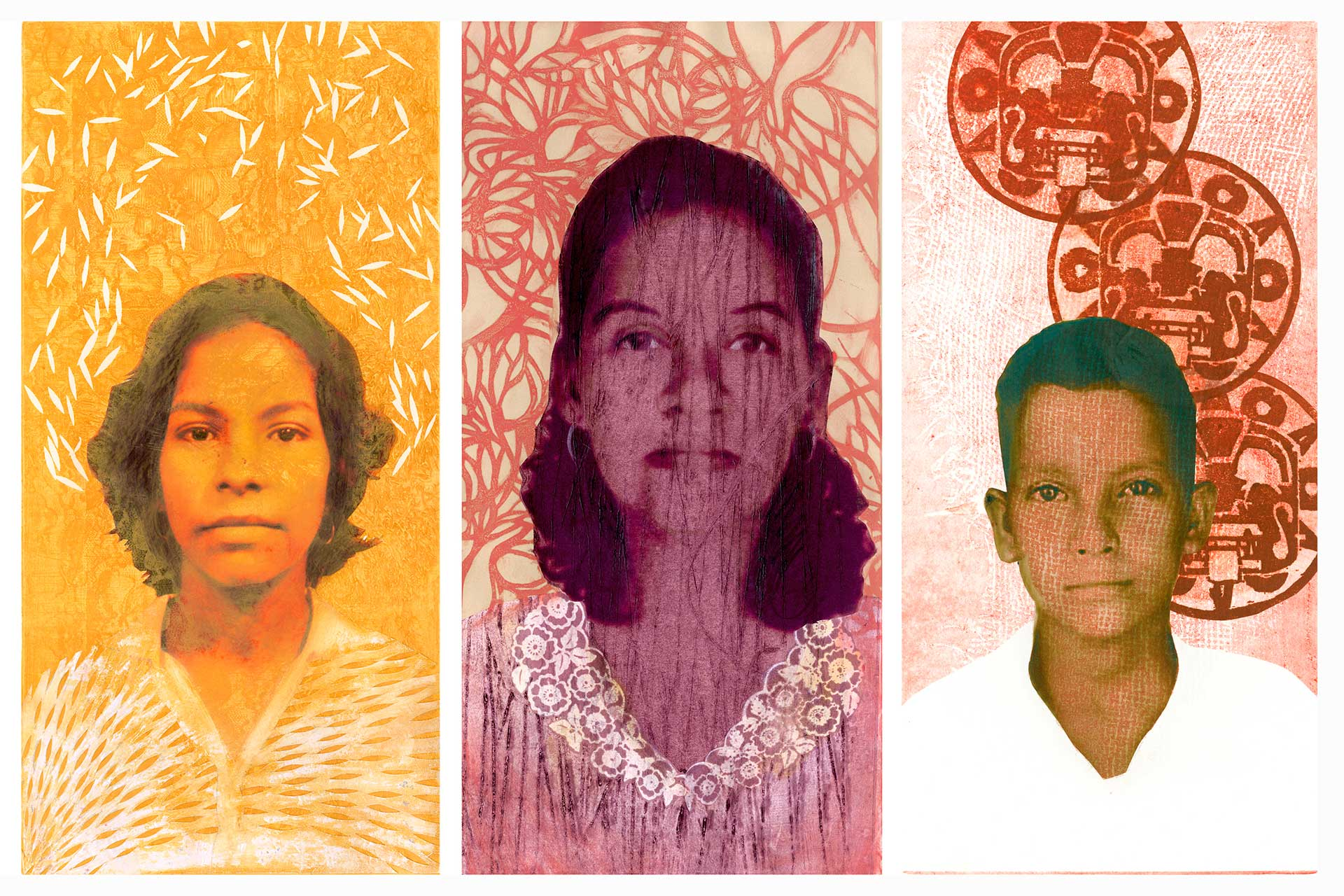 A mixed media art piece with images of a young girl, a middle aged woman, and a young boy.
