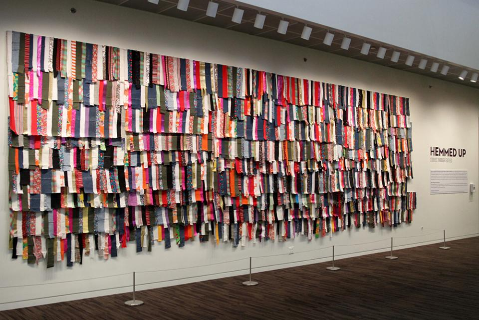 A tapestry made from hundreds of pieces of scrap material.