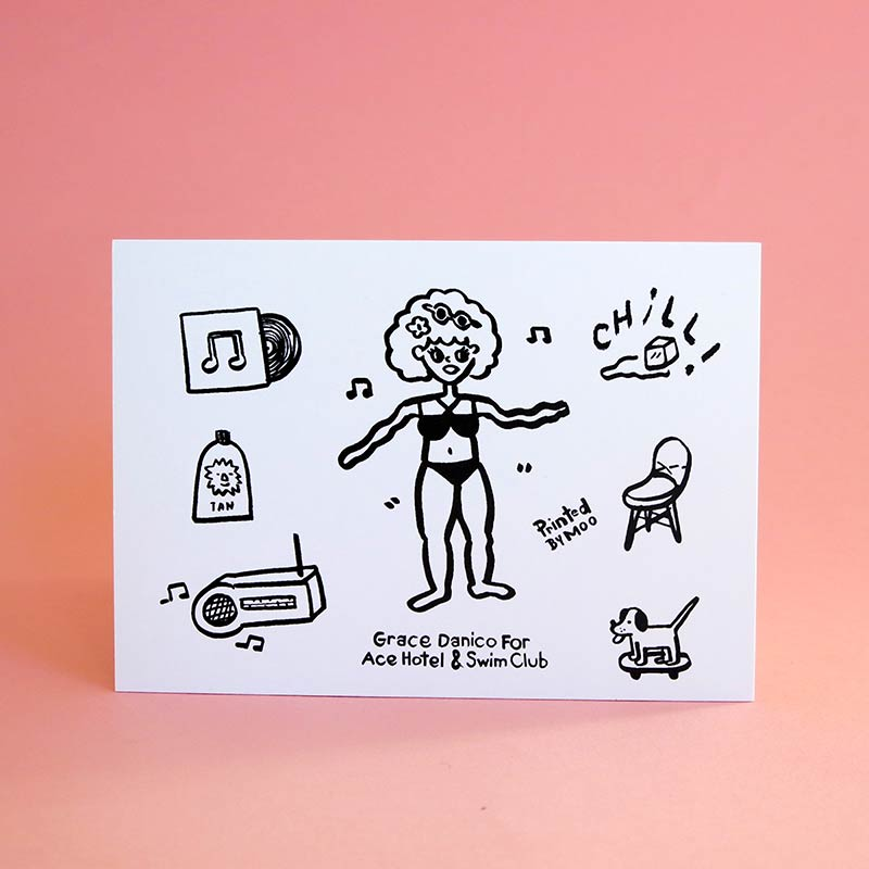 A card with several small illustrations.