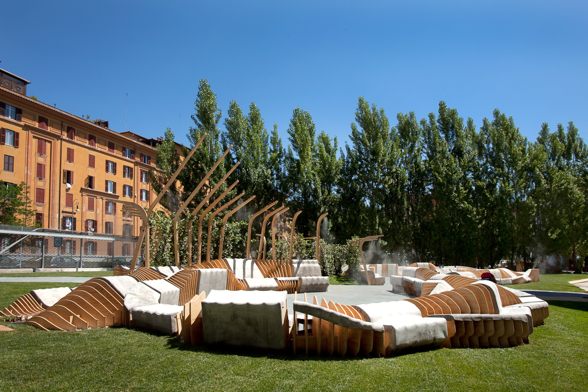 Urban Movement Design's Unite/Unire installation, an outdoor bench structure.
