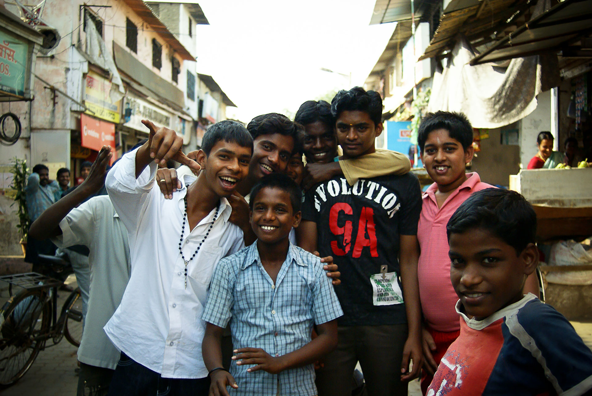 A group of Indian children in the street.