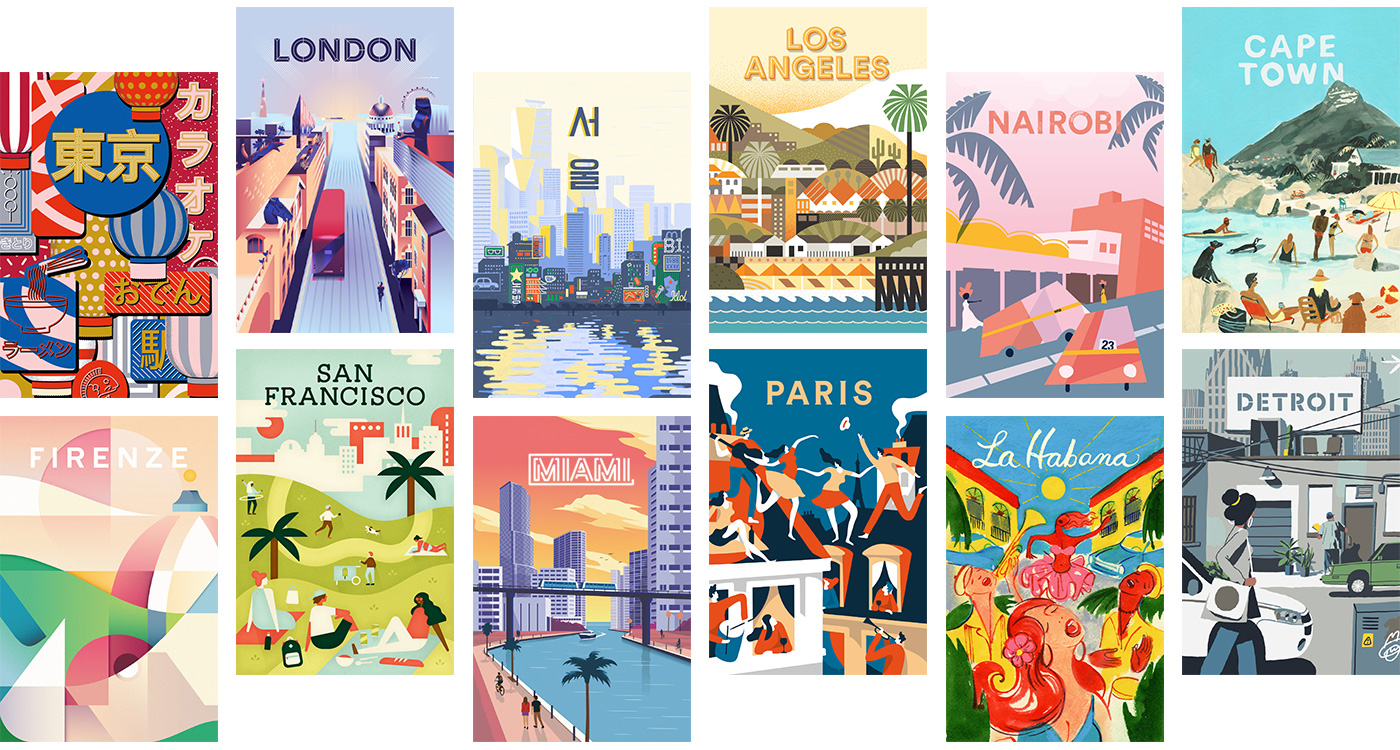 Twelve illustrated travel posters.