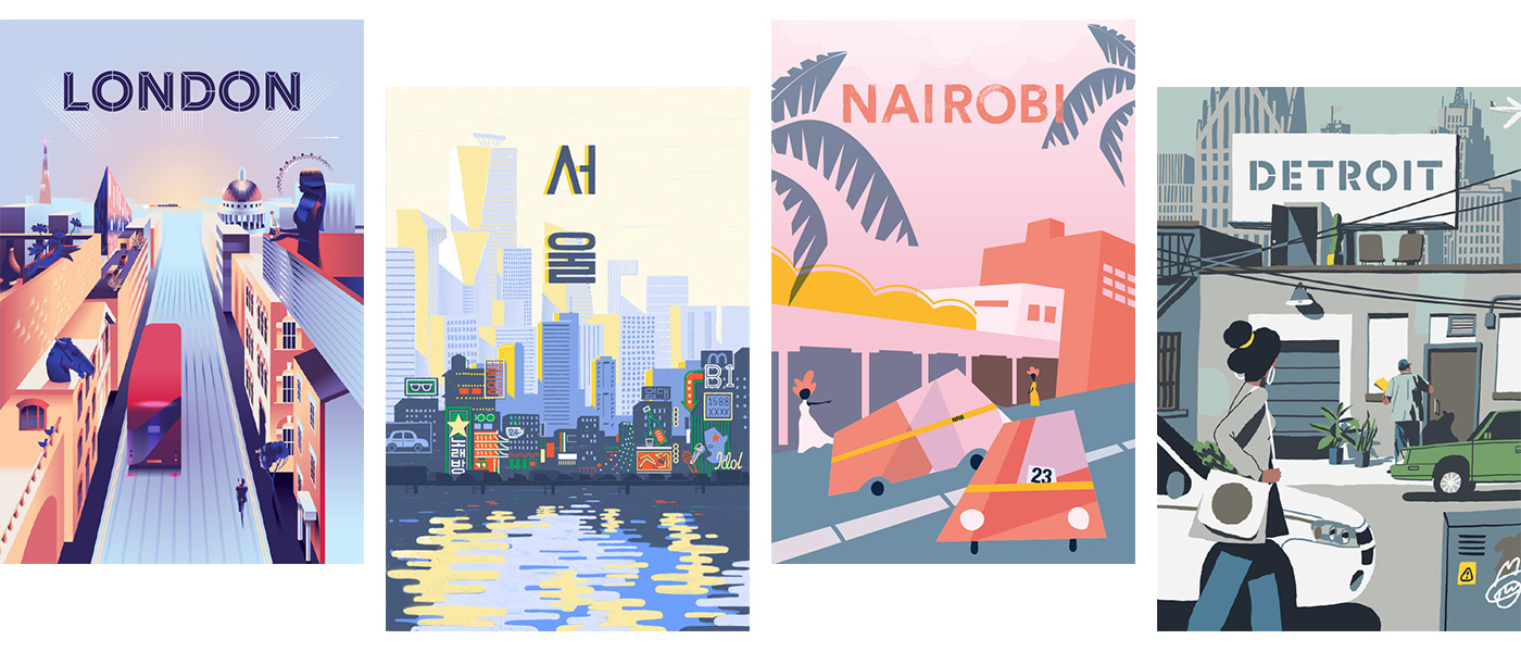 Four illustrated travel posters.