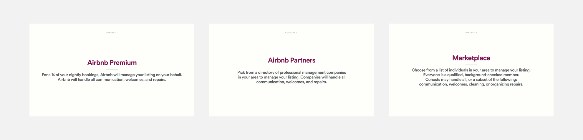 A description of three sacrificial concepts: Airbnb Premium, Airbnb Partners, and Marketplace.