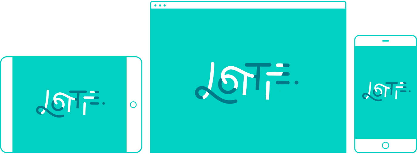 The Lottie logo on three devices, a tablet, a computer, and a mobile phone.