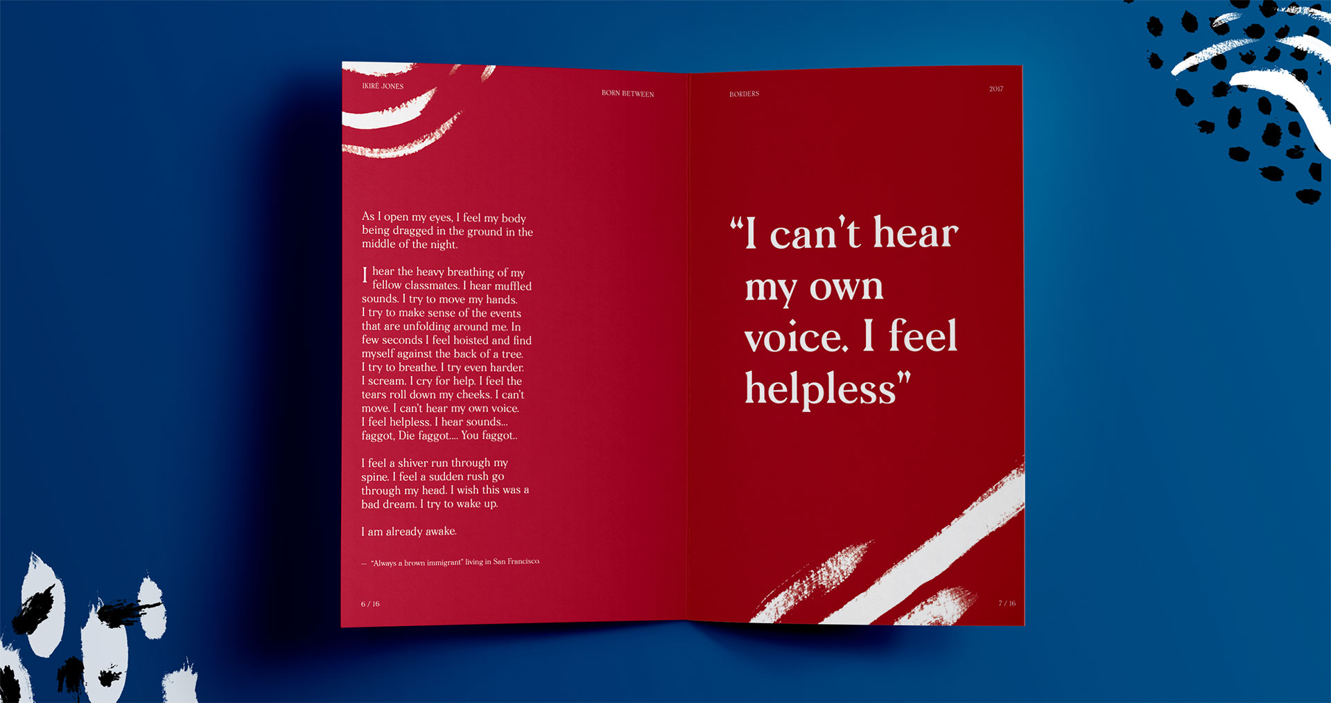 "A pamphlet that reads, ""I can't hear my own voice. I feel helpless."""