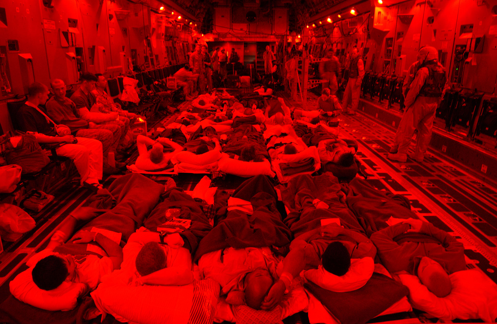 Injured marines on cots.