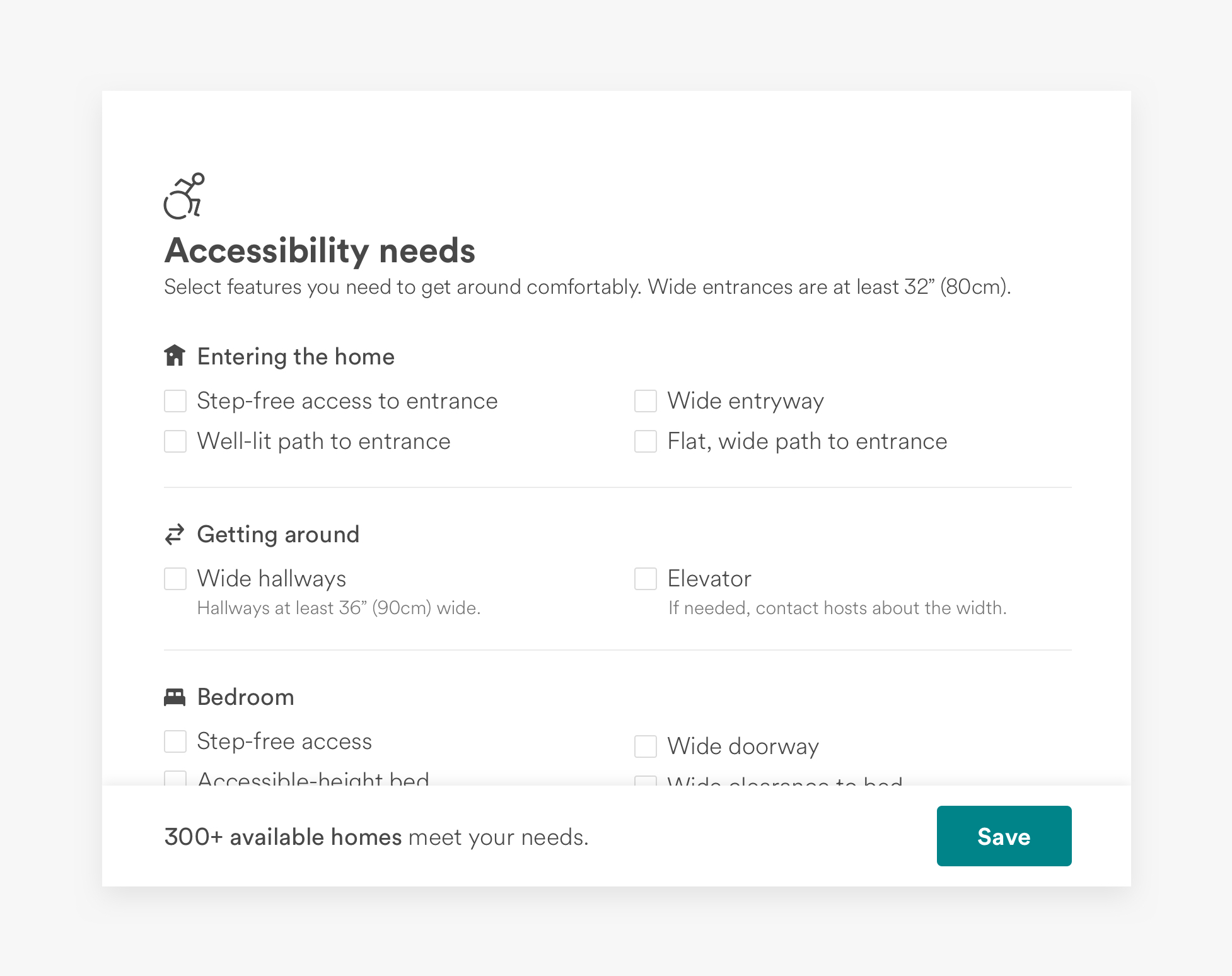 "A screenshot of the the new ""accessibility needs"" filters."