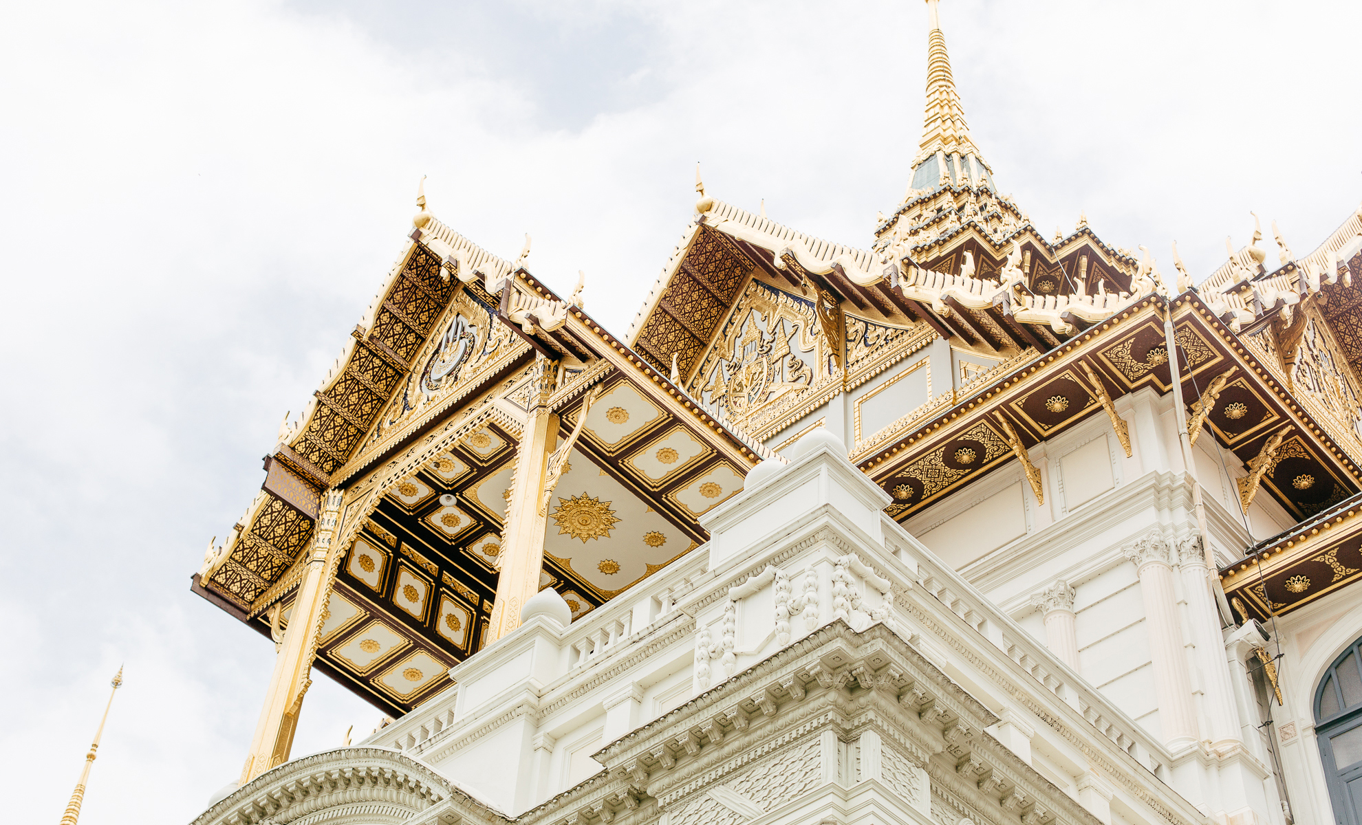 A highly ornate building, white and gold
