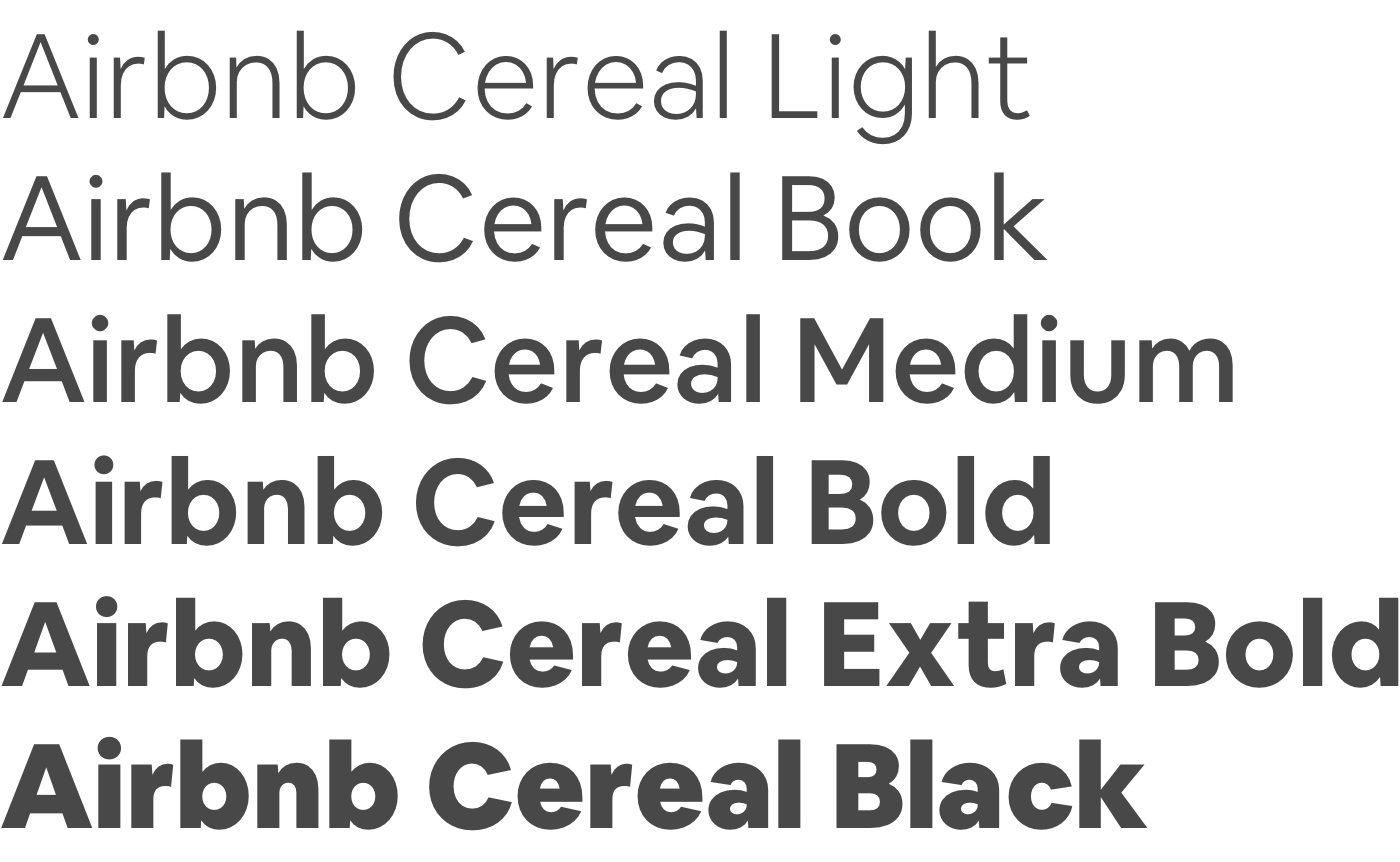 Airbnb Cereal at different weights