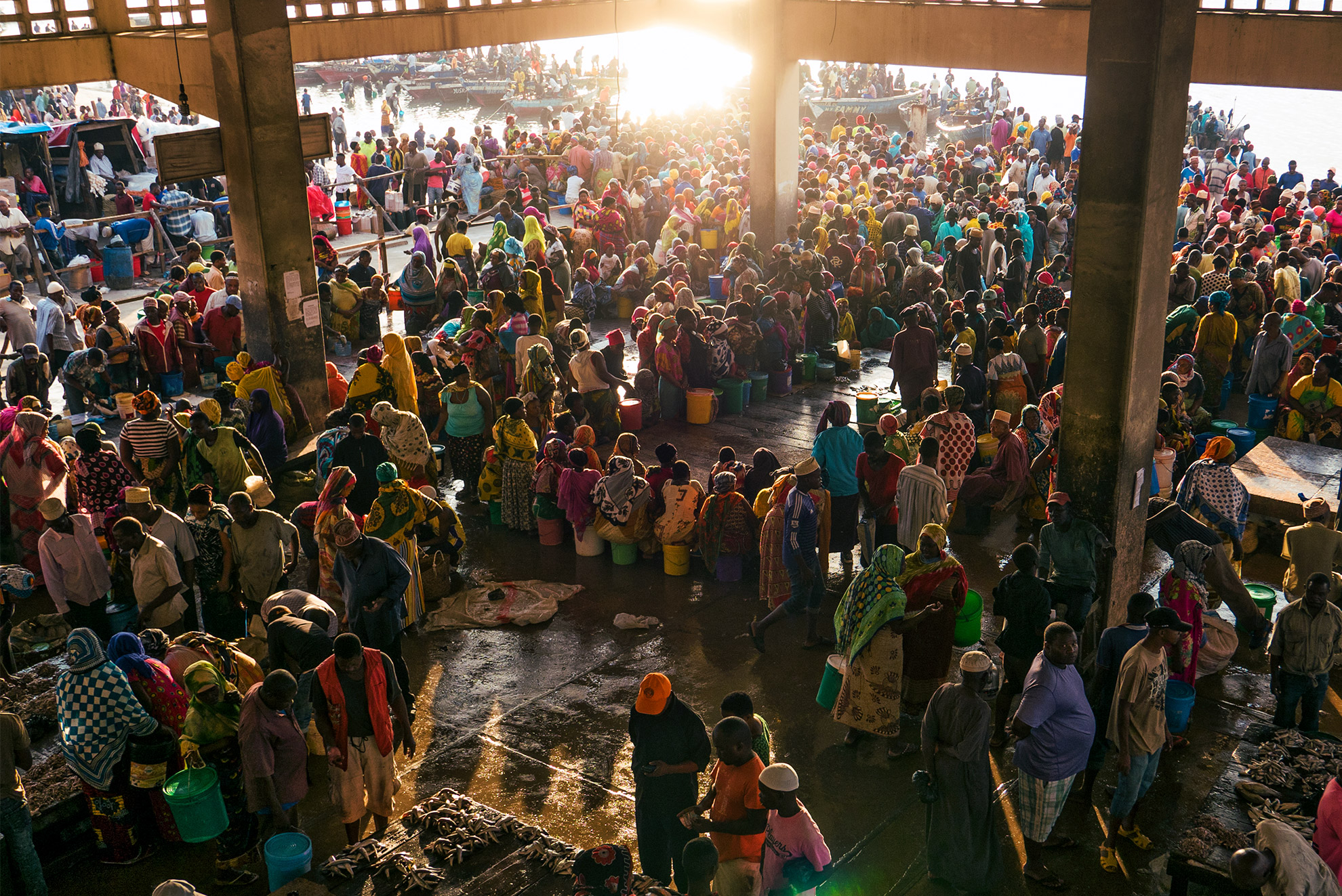 A large crowd at the market