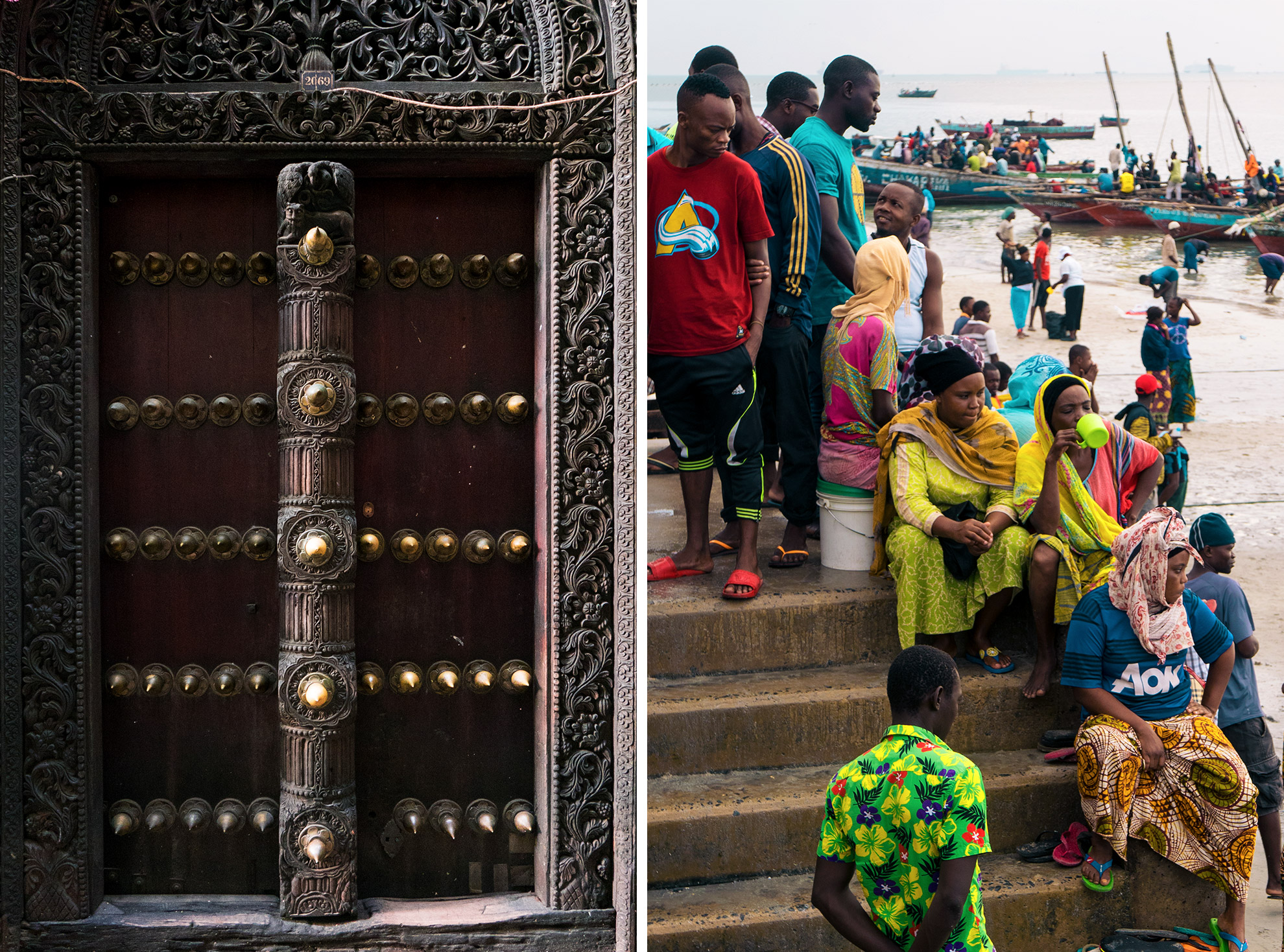 Split photo. Left, an intricate door. Right, people sitting on stairs outdoors.