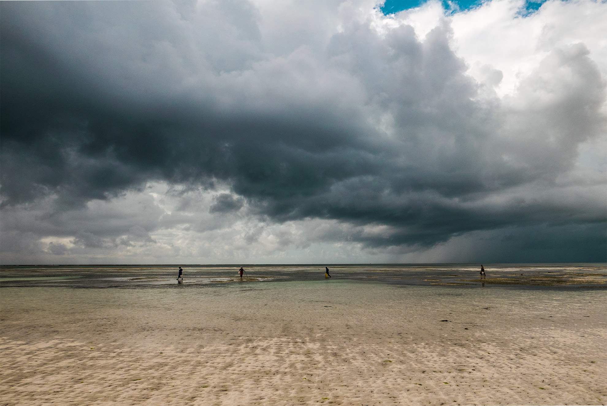 Dark clouds over a beach