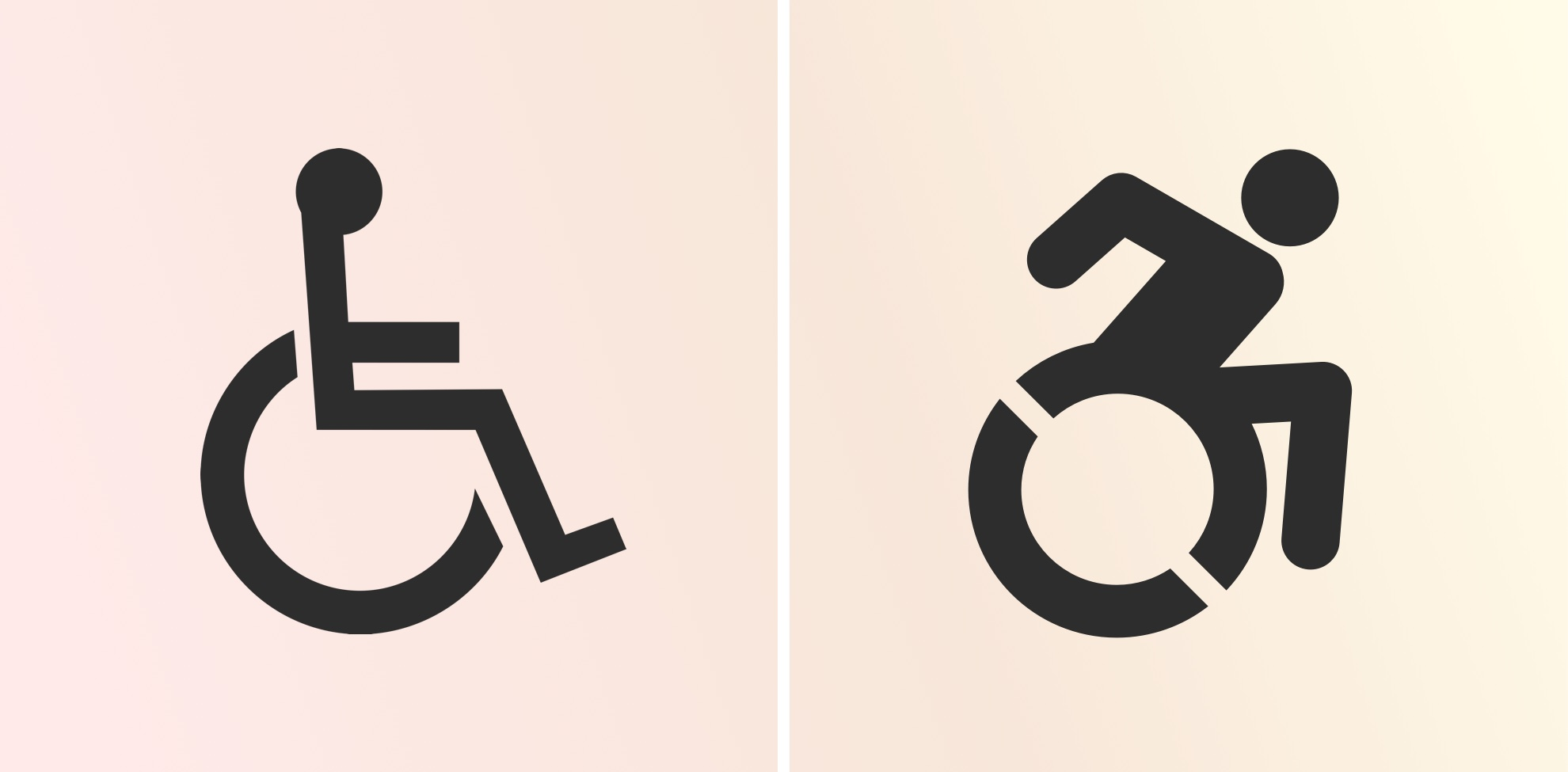 A traditional icon of a person using a wheelchair placed next to a newer icon showing a person leaning forward in a more active pose.