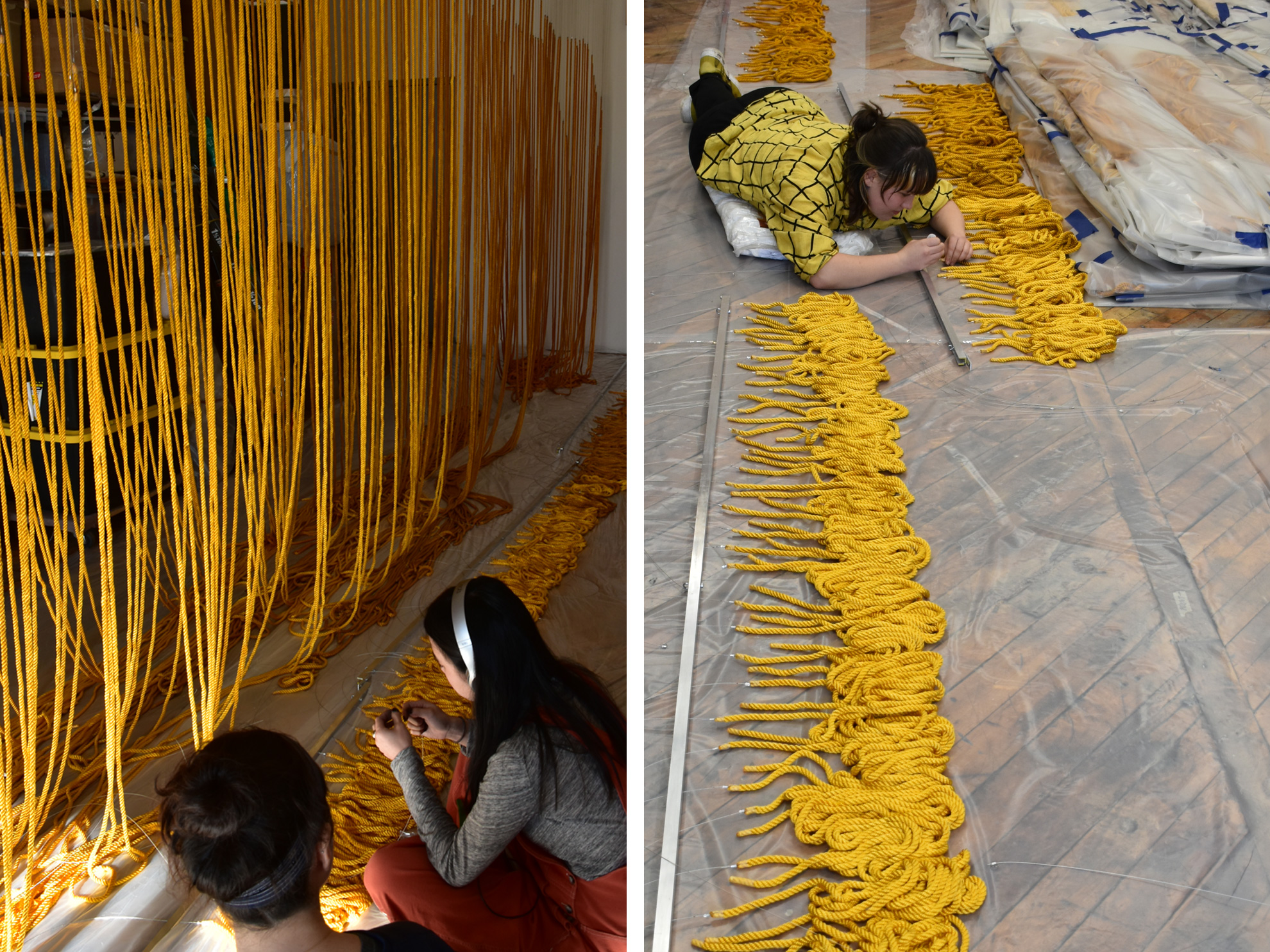 artists assemble rope installation