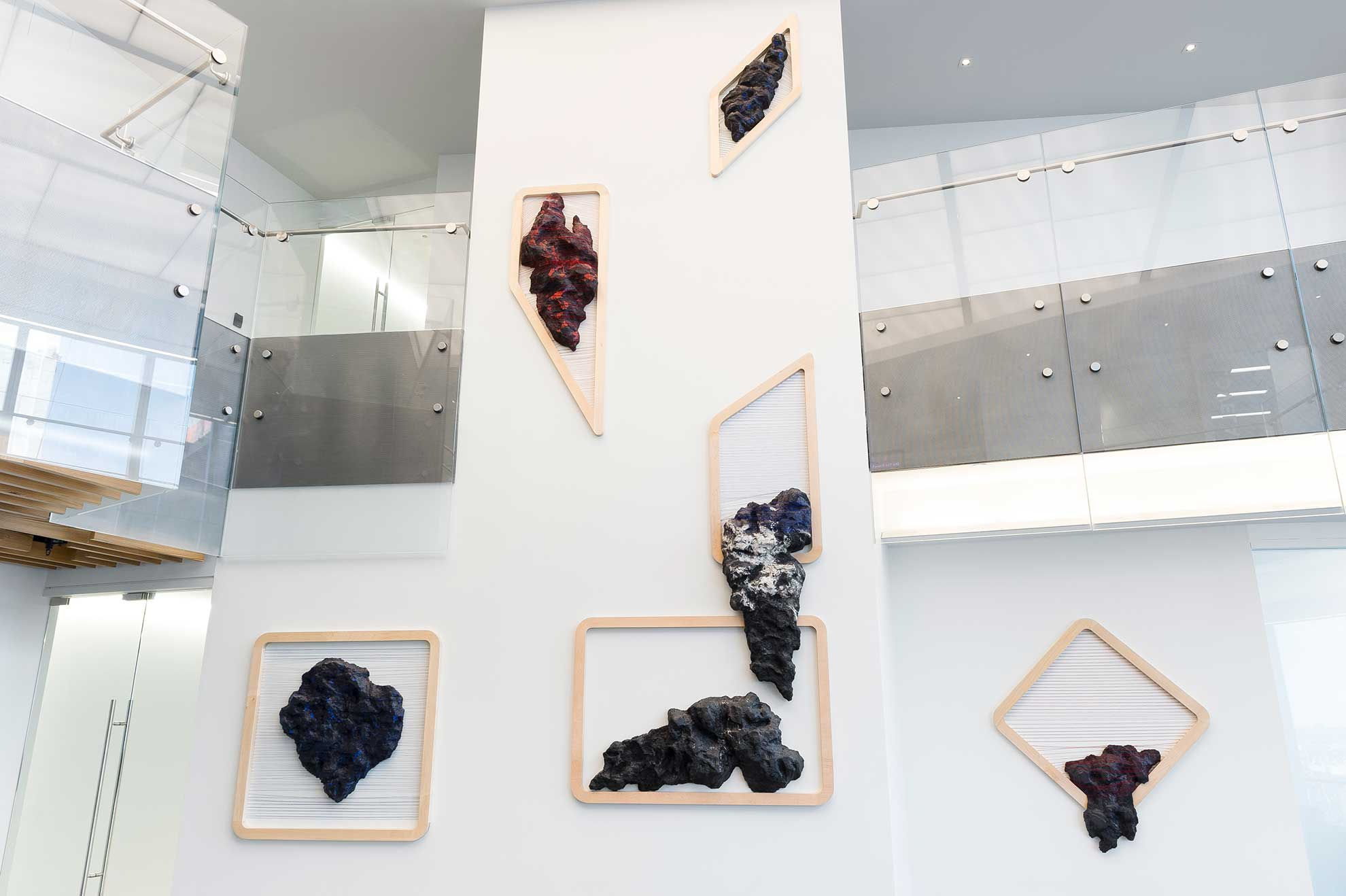 Image of rock and string installation in lobby
