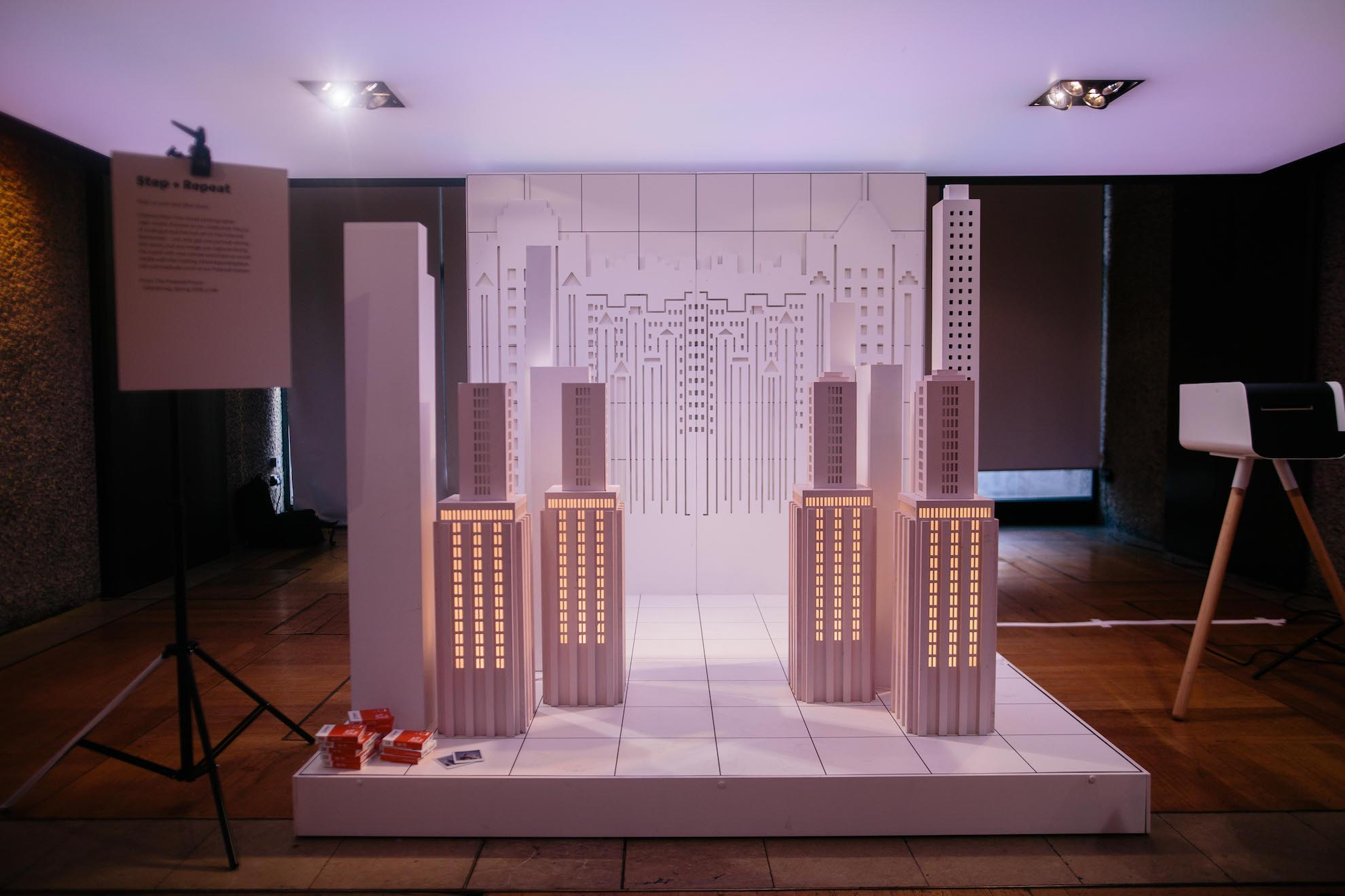 An image of a photobooth inspired by the New York City skyline