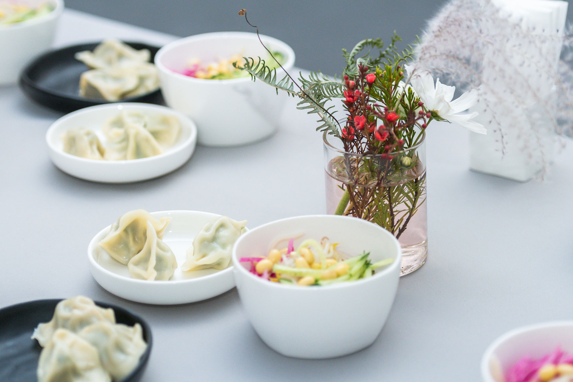 An arrangement of dumplings and other snacks
