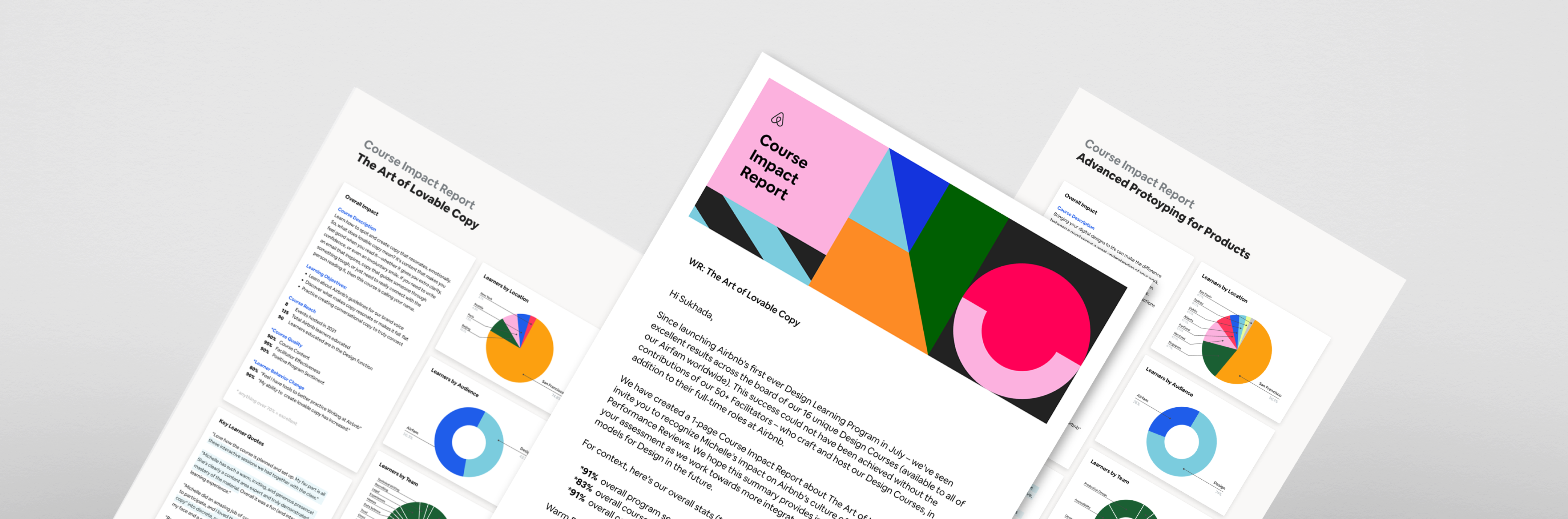 Impact reports for Airbnb Design Learning program